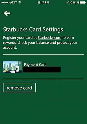 how to delete a card on starbucks app