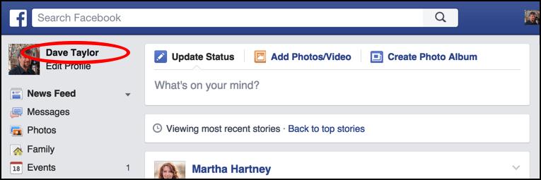 main facebook newsfeed page