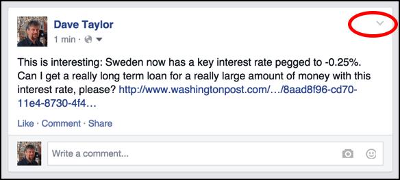 facebook status update to delete remove