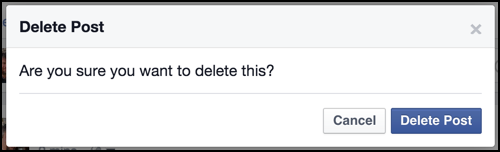 are you sure you want to delete this facebook update?