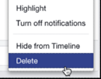 how to delete a post status update entry facebook timeline