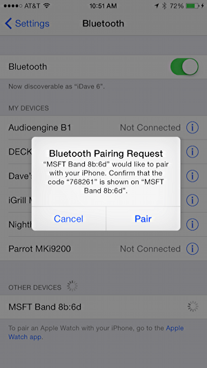 bluetooth pairing request on apple ios 8 from microsoft band