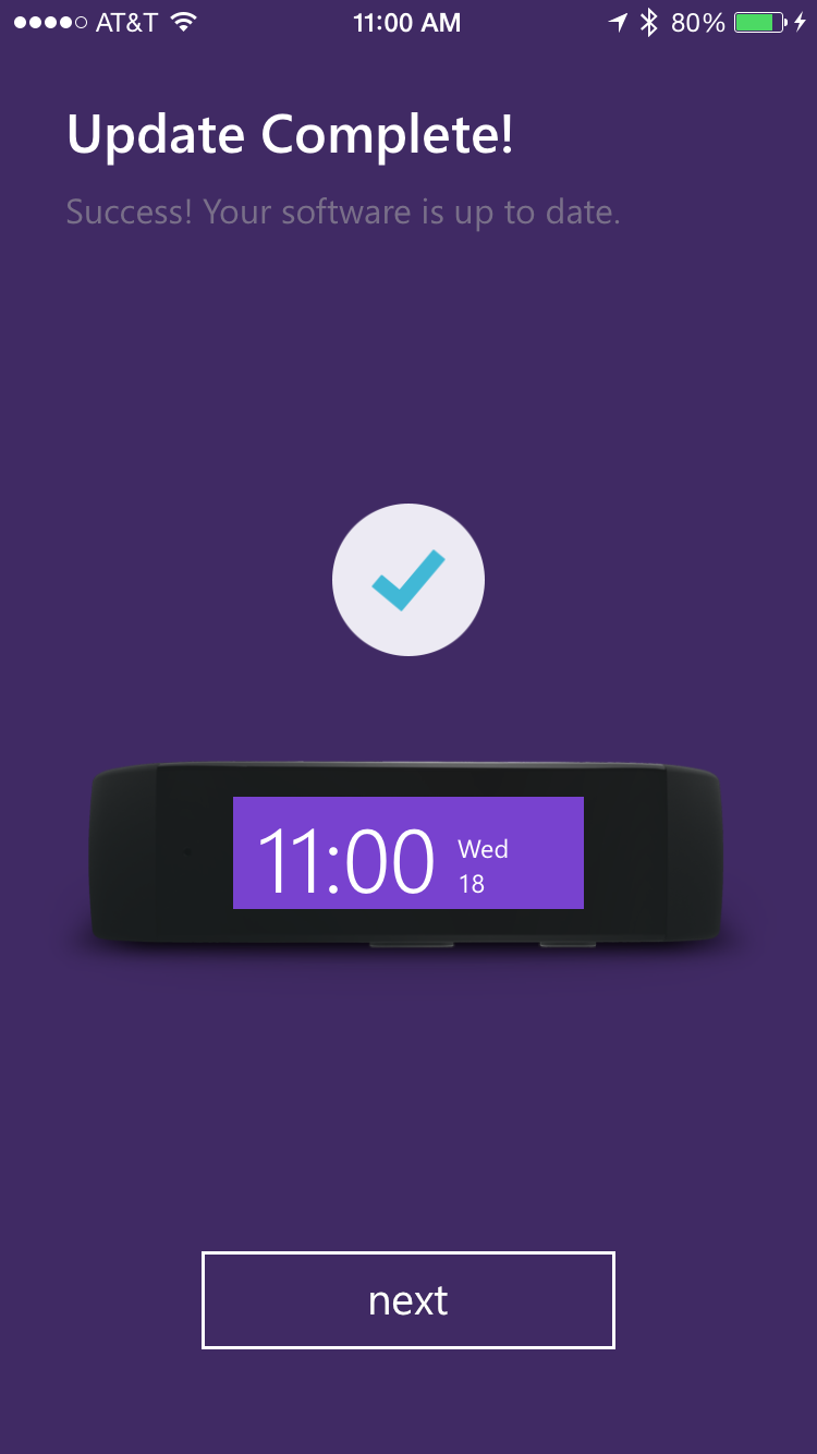 update complete on microsoft band from apple iphone 6 plus