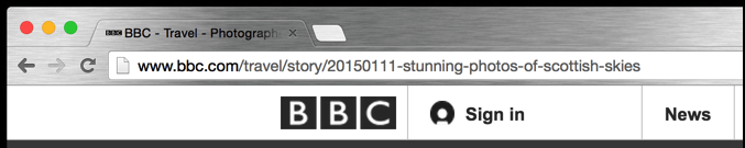google chrome nav bar with bbc URL shown
