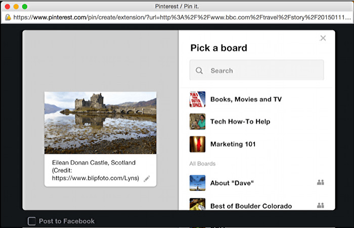 pin a photo url web page bookmark to pinterest pin board