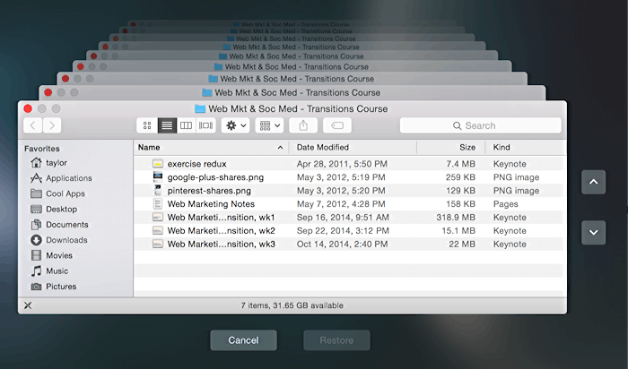 how to recover files from time machine
