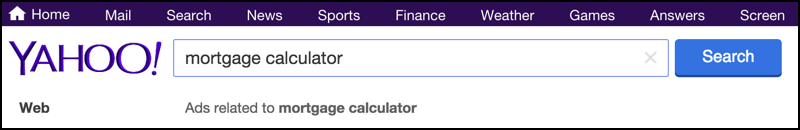 Yahoo Search For House Loan Car Mortgage Calculator