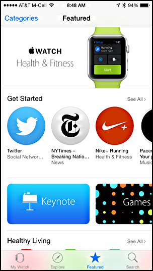 featured apps iwatch apple watch app store iphone