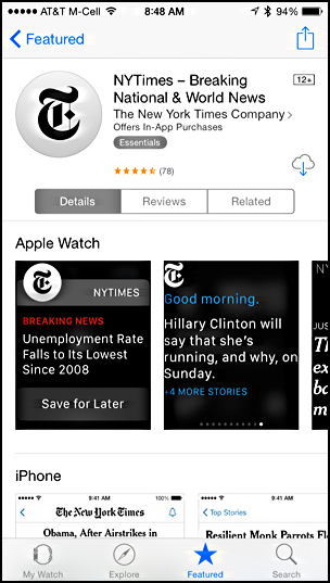 new york times nytimes for apple watch