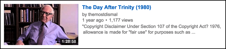the day after trinity film, as found on youtube.com