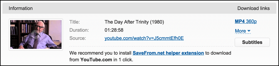 download save options from savefrom.net for youtube video