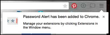 password alert has been installed added google chrome