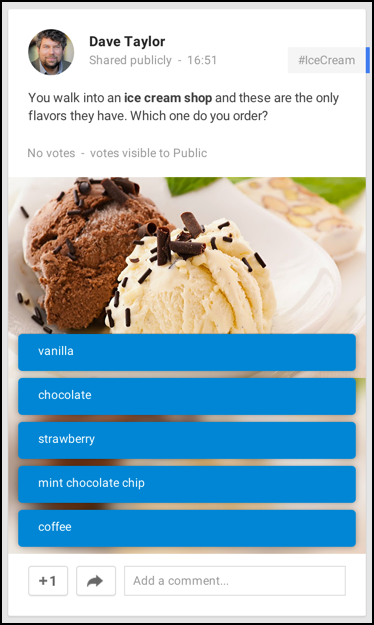 ice cream favorite flavor poll google plus