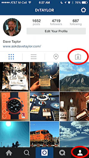 find your instagram profile and photos you've been tagged in