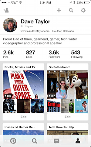 profile page on pinterest mobile