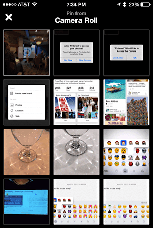 post a recent photo on pinterest from your iphone