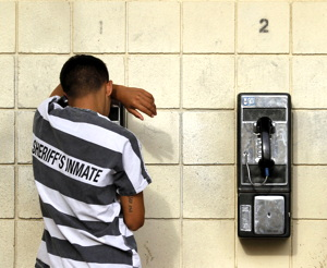 inmate making phone call