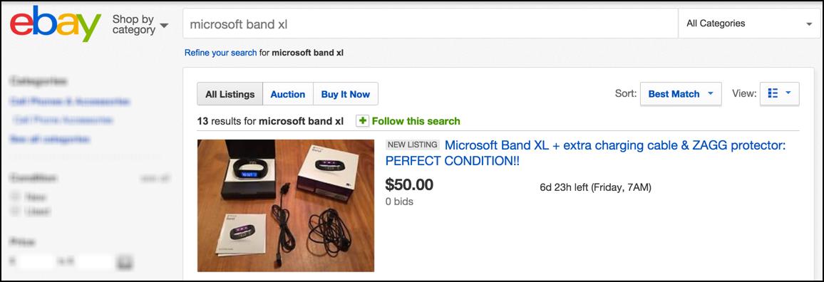 item for sale - microsoft band - on eBay