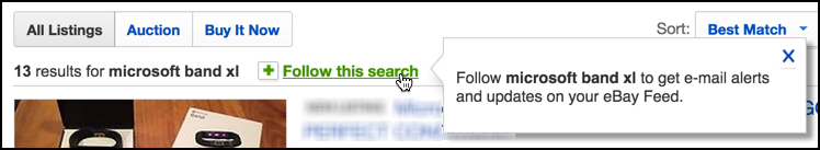 follow this search feature on eBay