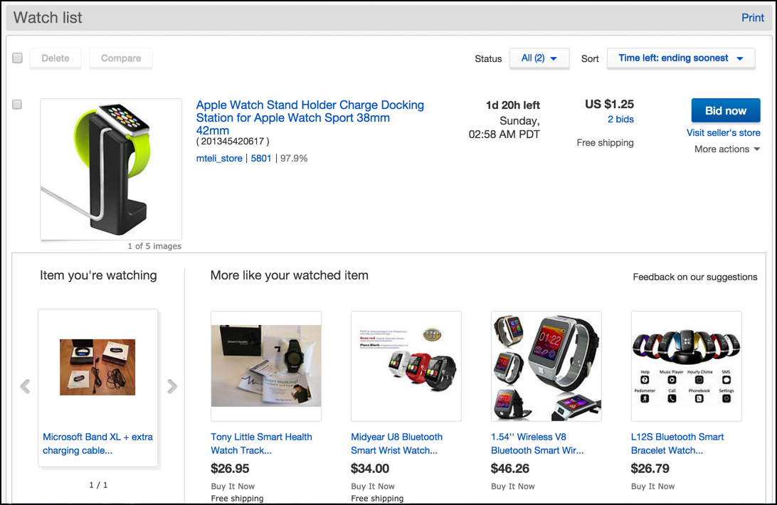 ebay watch list main screen