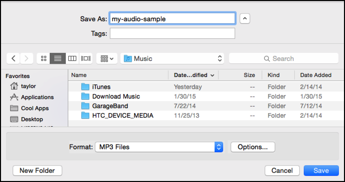 how to make mp3 audio file on mac