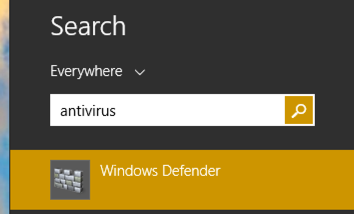 search for antivirus in win8