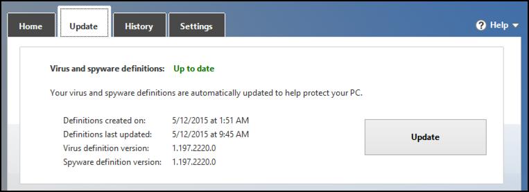 update virus definitions windows win8 8.1 defender