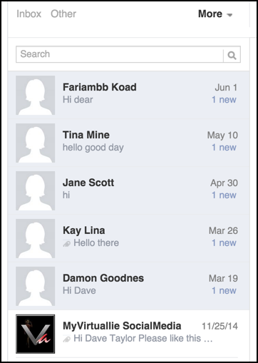 how to delete unread facebook messages