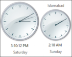 dual timezone clock display, windows 8