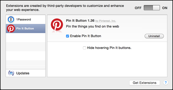 pinterest extension for apple mac os x safari web browser, settings and preferences