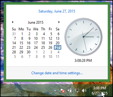 date and time window pop-up, win8.1