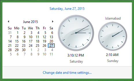 two clocks with different timezones, date and time, win8