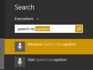 search win8 for speech recognition
