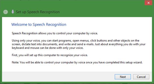 set up speech recognition voice navigation win8 windows 8.1