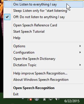 win8 speech recognition menu