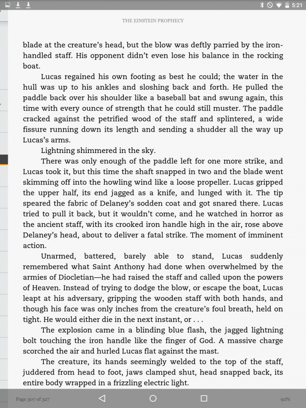 kindle ebook page on nexus 9 android tablet, with android os control bars displayed