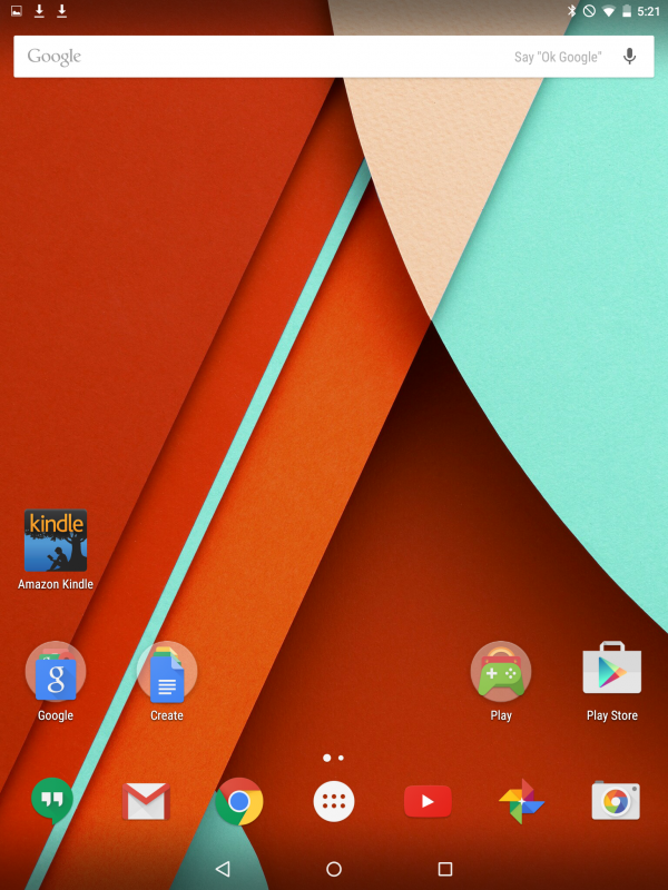 home screen, android tablet