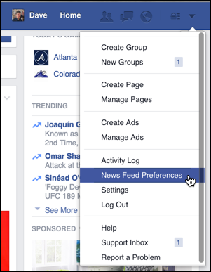 select 'news feed preferences' from facebook menu