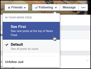 see first facebook setting from individual user friend family profile page