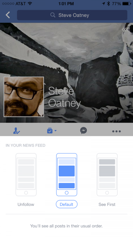 apple iphone ios8 facebook app set see first mode