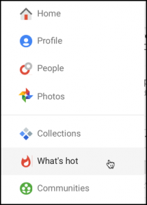 home menu on google plus g+