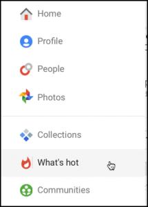 home menu on google plus g+