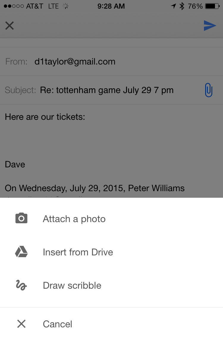 How do I attach a photo in the iPhone Gmail App? - Ask Dave
