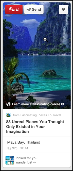 site url shows up as pop-up superimposed text on pinterest photo pin
