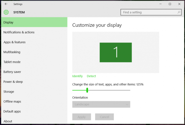 modify display settings, windows 10 win10