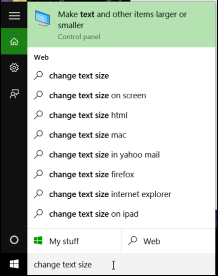 win10 search for text size