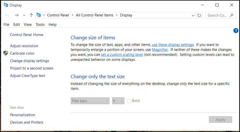 change text size windows 10 win10