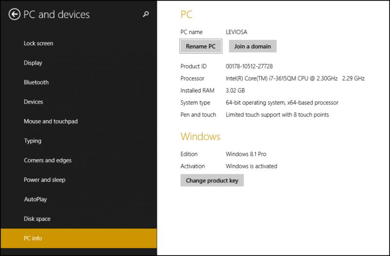 windows 8 win8 pc computer system info profile data