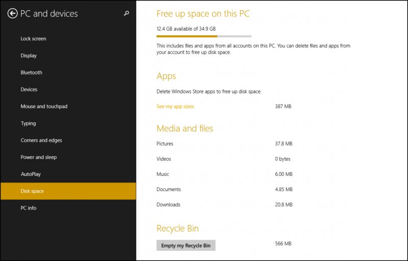win8 available disk space