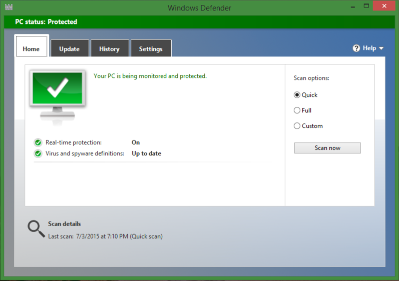 microsoft windows defender win8.1